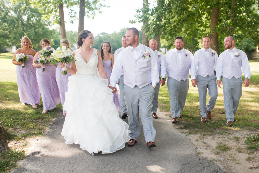 Lavender and Pale Green Virginia Beach Wedding | Purple and green bridal party portraits