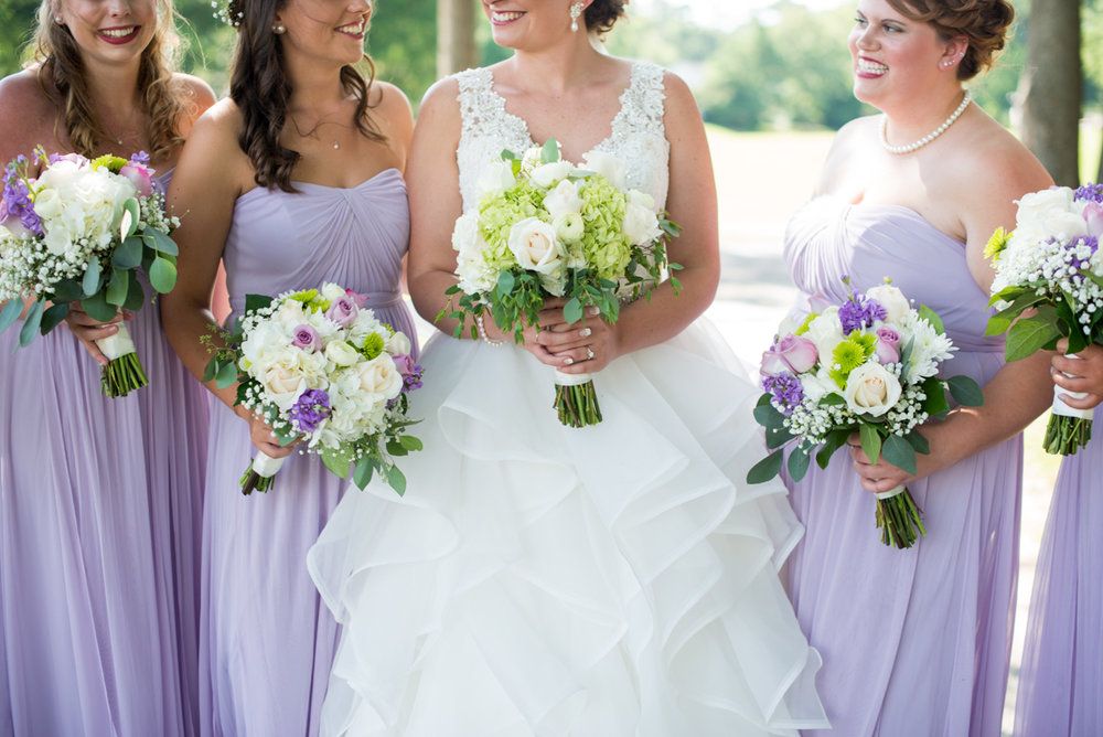 Lavender and Pale Green Virginia Beach Wedding | Lavender, White, and Green Bridal Bouquets