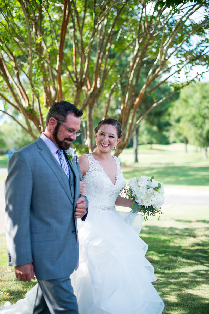 Lavender and Pale Green Virginia Beach Wedding | Bride walking with her father