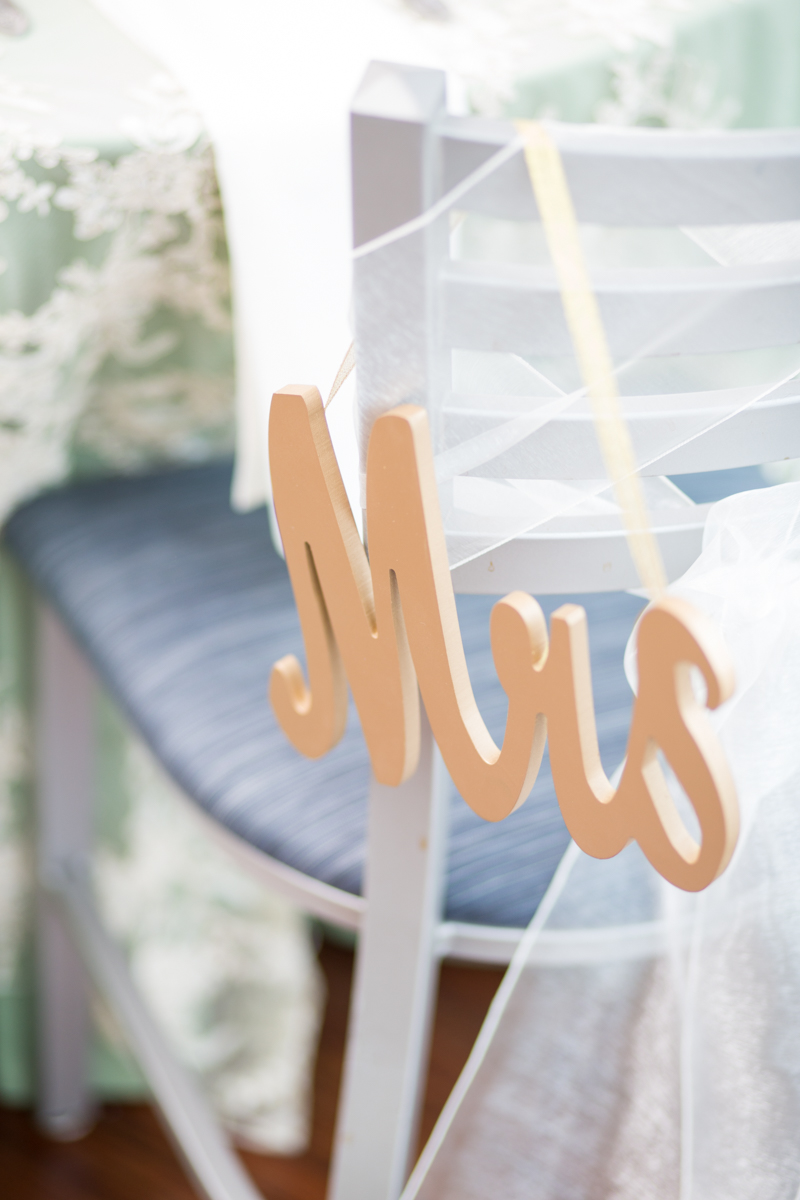 Lavender and Pale Green Virginia Beach Wedding | Mrs Chair Sign