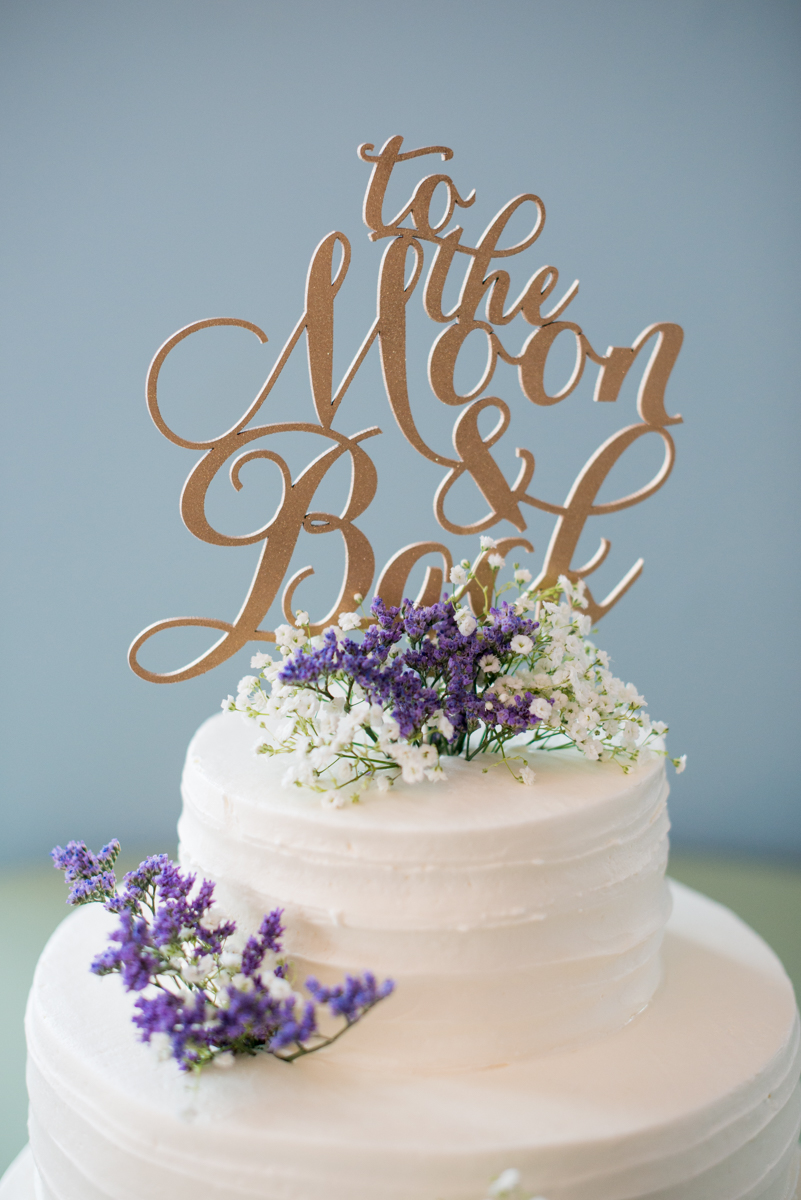 Lavender and Pale Green Virginia Beach Wedding | To the Moon and Back Wedding Cake Topper