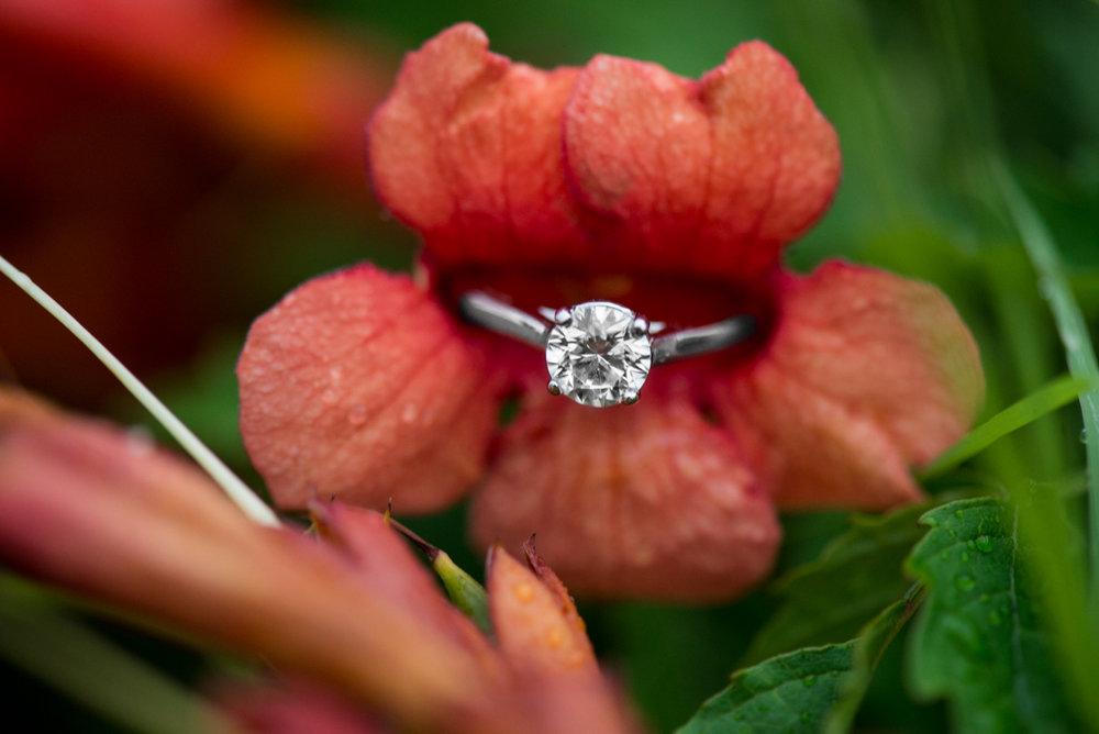 Pink Flower Engagement Ring Shot