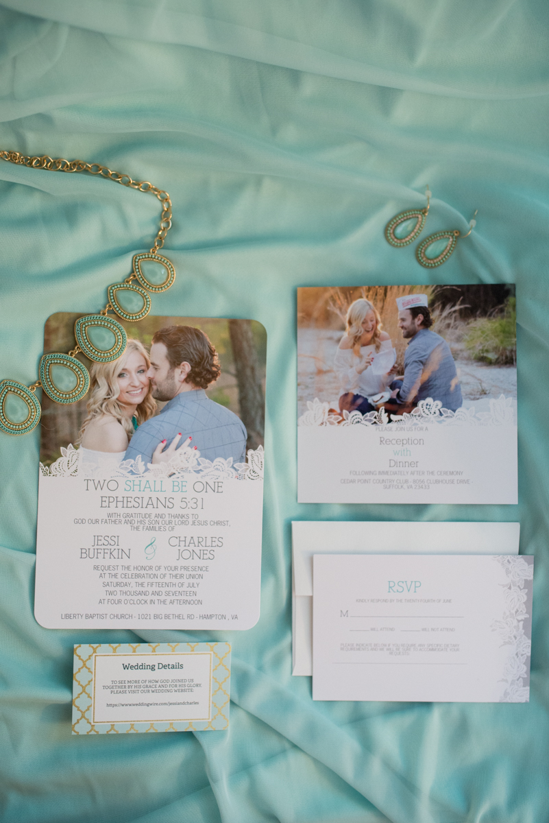 Gold and Teal Summer Wedding | Picture Wedidng Invitations