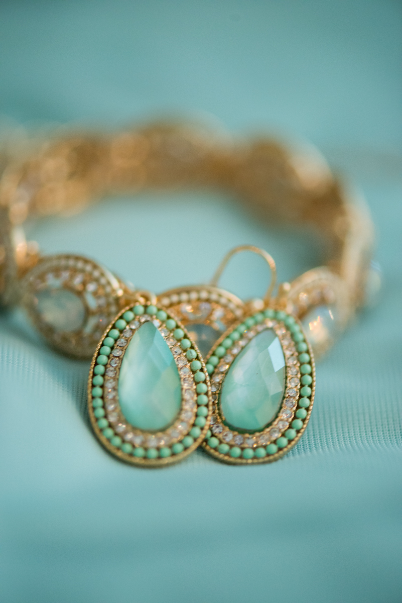 Gold and Teal Summer Wedding | Teal Bridal Earrings