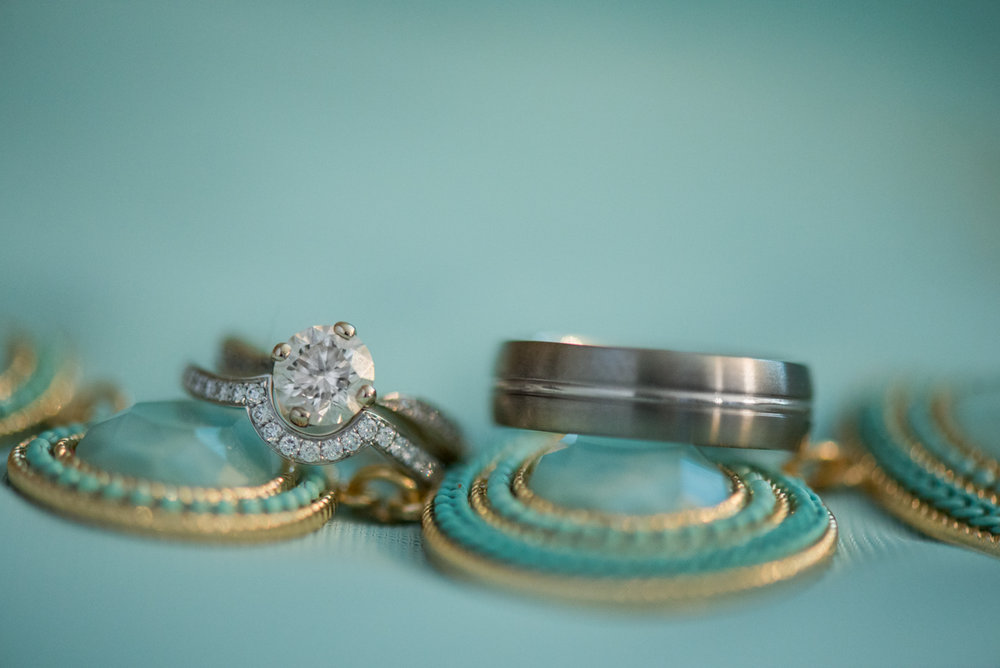 Gold and Teal Summer Wedding | Wedding Ring Shot