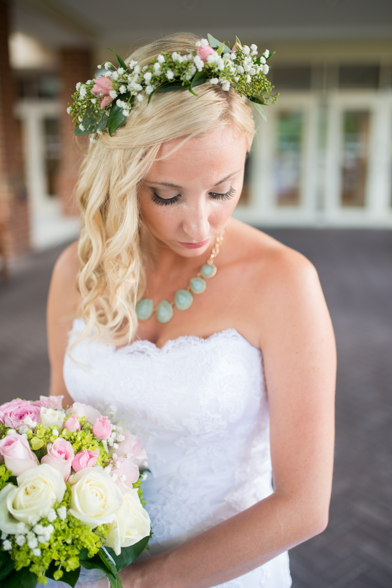 Gold and Teal Summer Wedding | Bride with Floral Crown