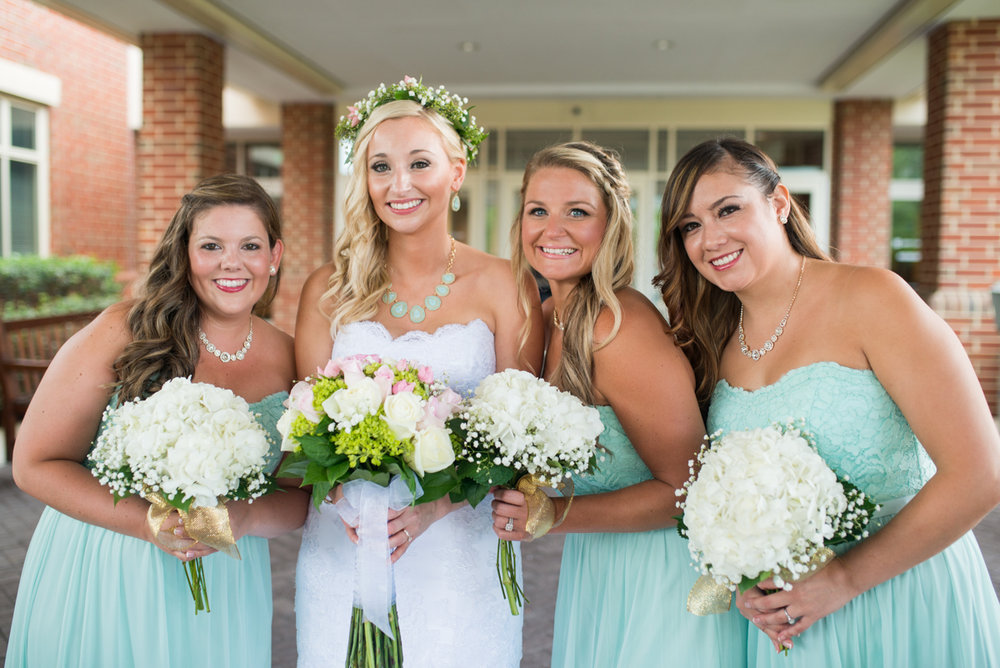 Gold and Teal Summer Wedding | Teal Bridal Party Portraits