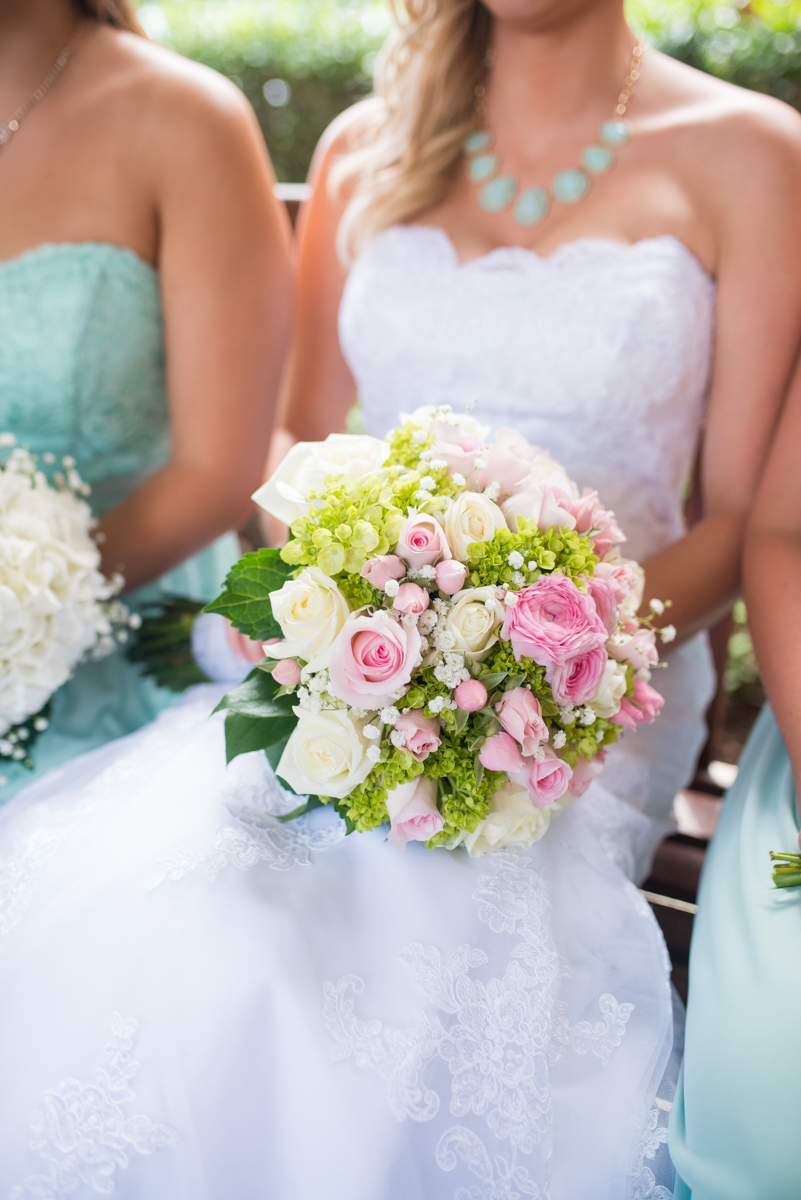 Gold and Teal Summer Wedding | Pink and Green Bbridal Bouquet