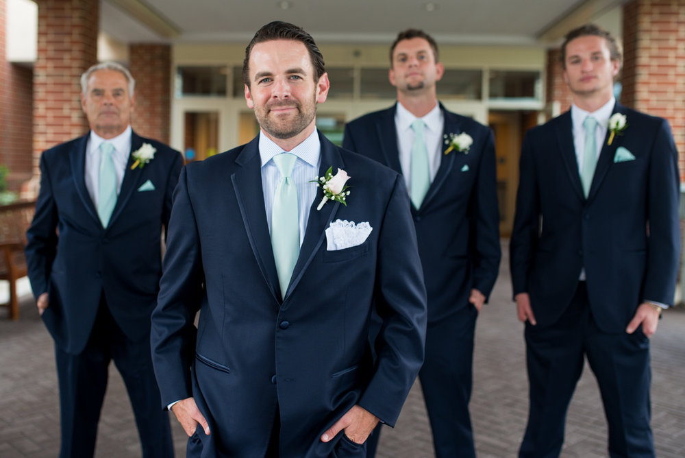 Gold and Teal Summer Wedding | Navy Groomsmen Portraits