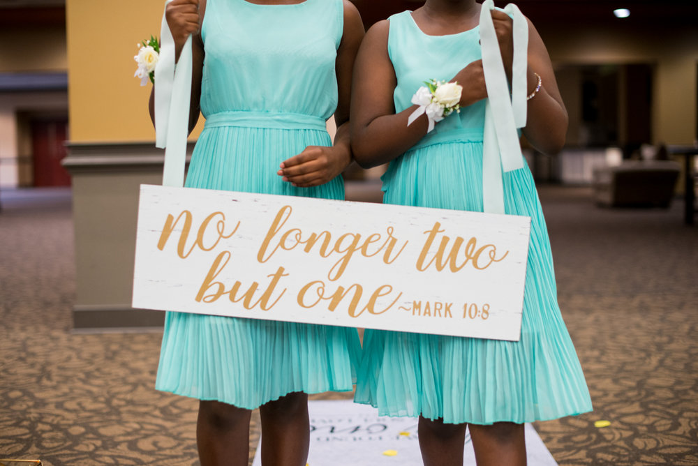 Gold and Teal Summer Wedding | Bible Verse Wedding Sign