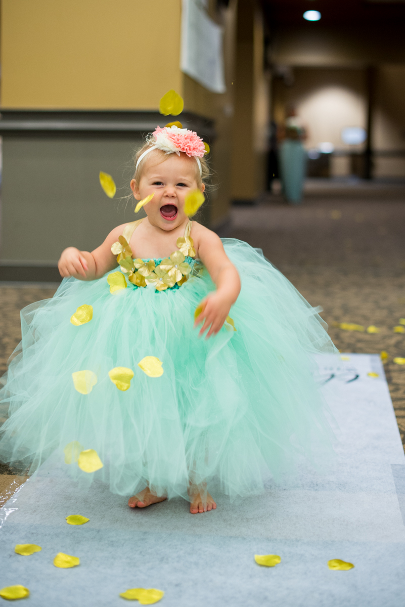 Gold and Teal Summer Wedding | Flower Girl in Tulle Dress