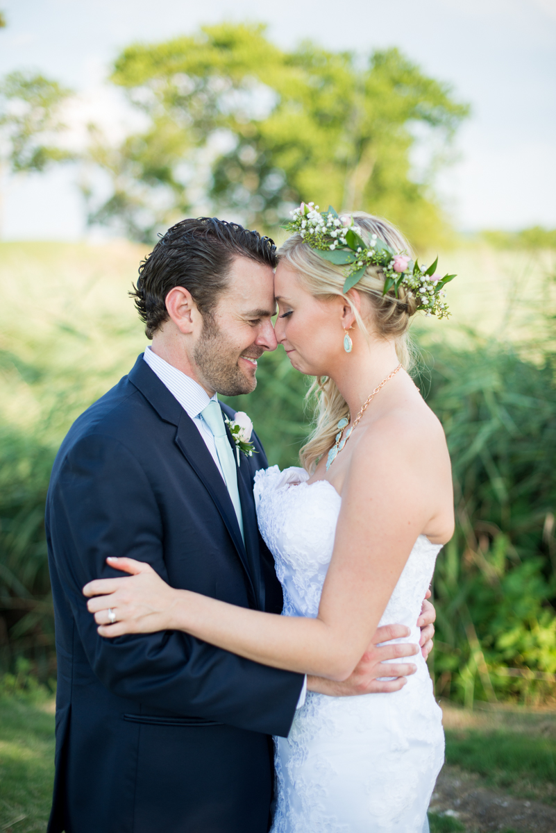 Gold and Teal Summer Wedding | Bride and Groom Portrait