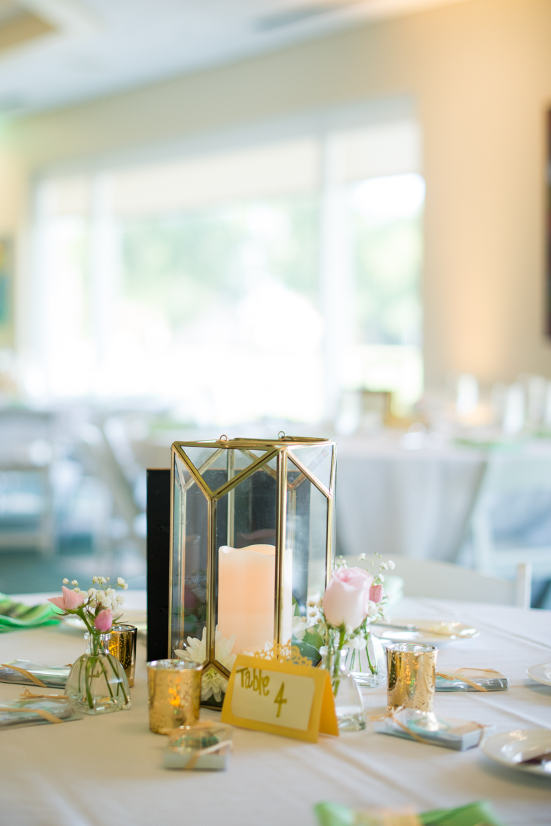 Gold and Teal Summer Wedding | Lantern Wedding Centerpiece