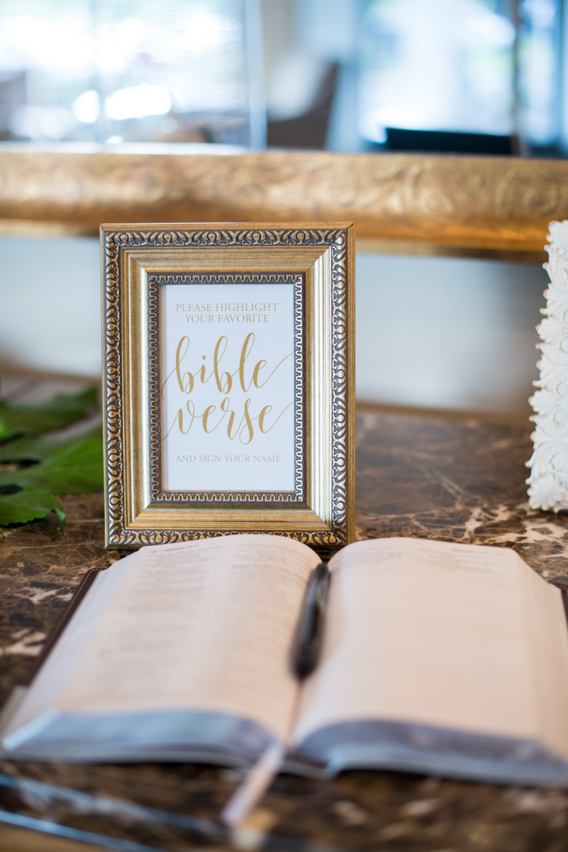 Gold and Teal Summer Wedding | Favorite Bible Verse