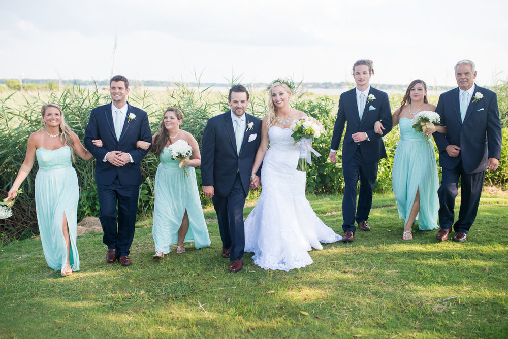 Gold and Teal Summer Wedding | Teal and Navy Bridal Party Portraits