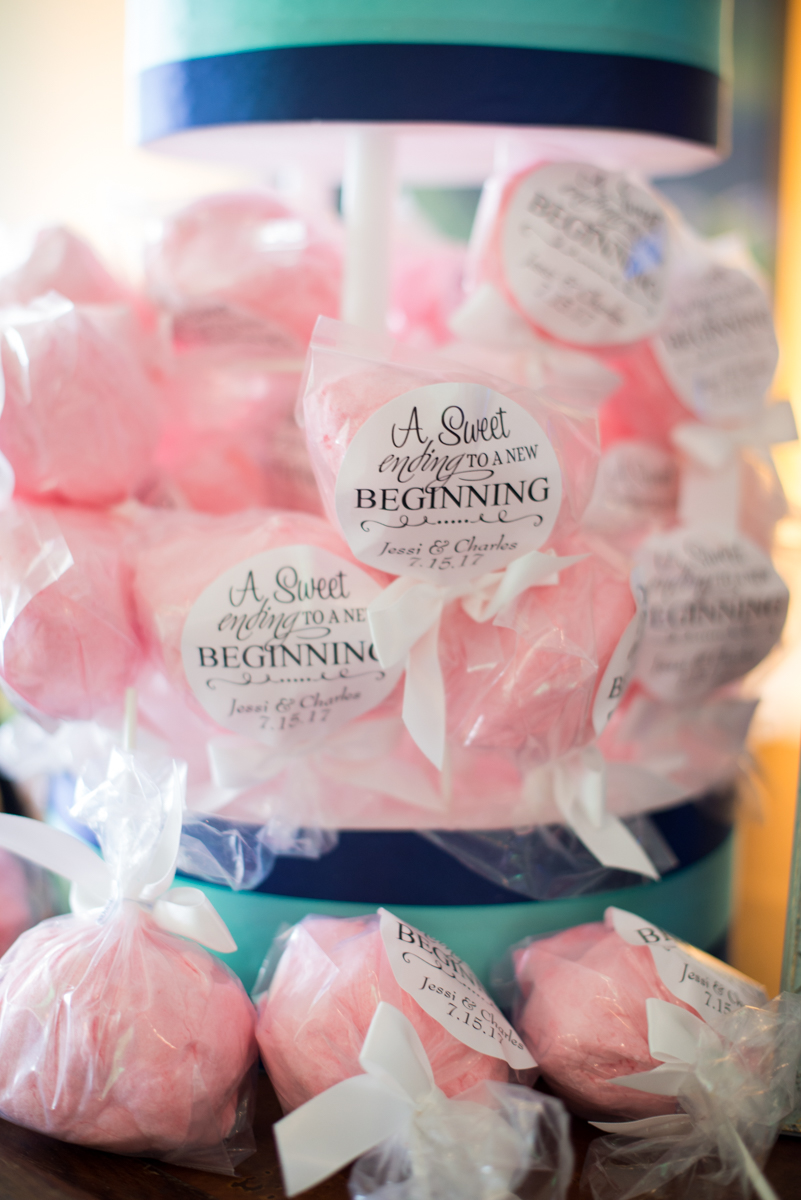 Gold and Teal Summer Wedding | Cotton Candy Wedding Favors