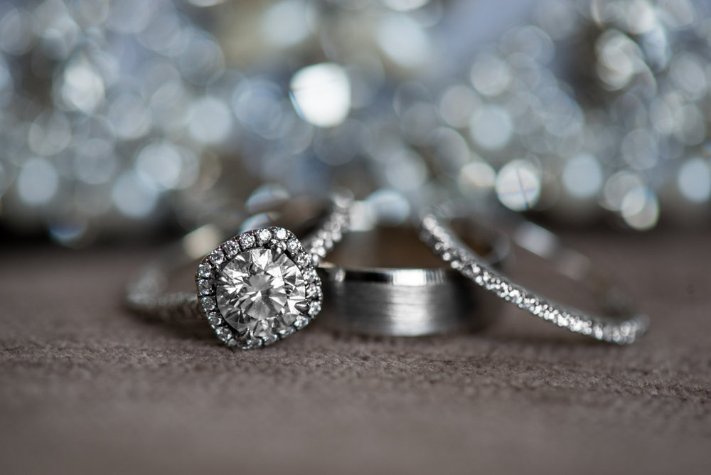Elegant Navy and Blush Summer Wedding | Sparkly Ring Shot