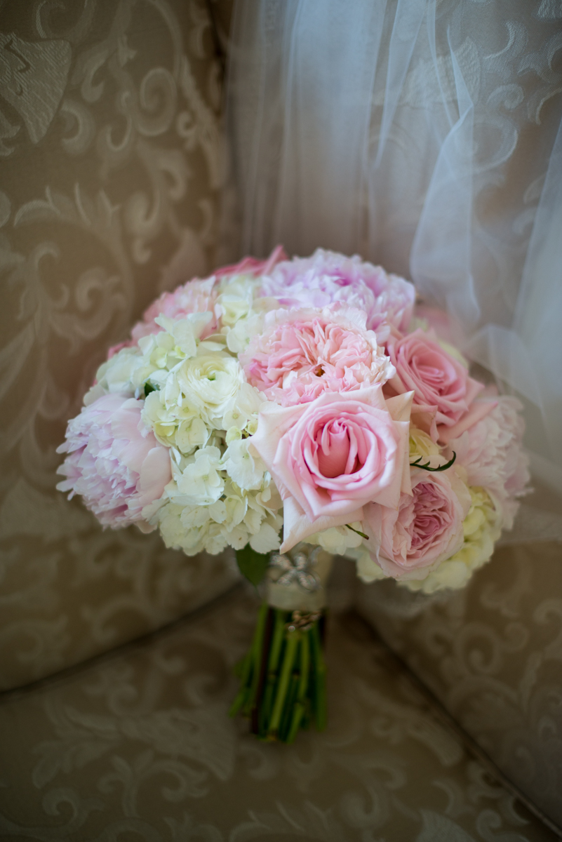 Elegant Navy and Blush Estate Wedding | White and Blush Peony and Rose Bouquet