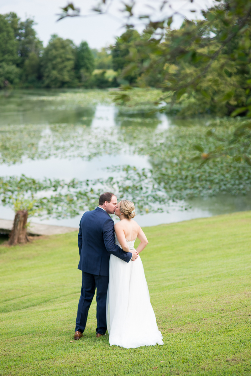 Elegant Navy and Blush Estate Wedding | Bride and Groom First Look Portraits