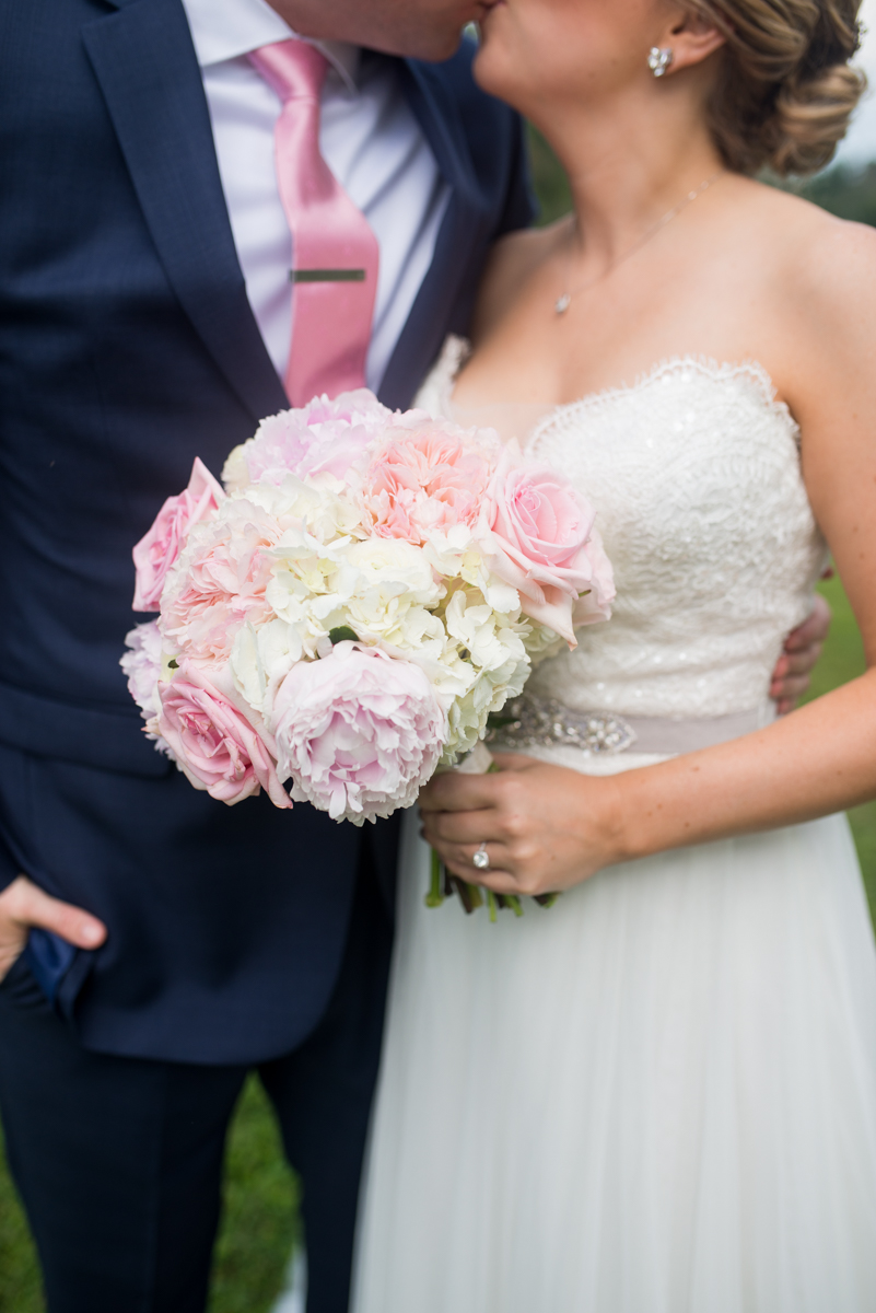 Elegant Navy and Blush Estate Wedding | White and Blush Peony Rose Bouquet