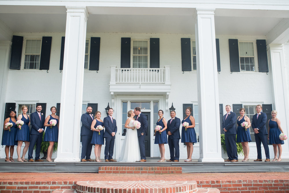 Elegant Navy and Blush Estate Wedding | Navy Bridal Party Portraits