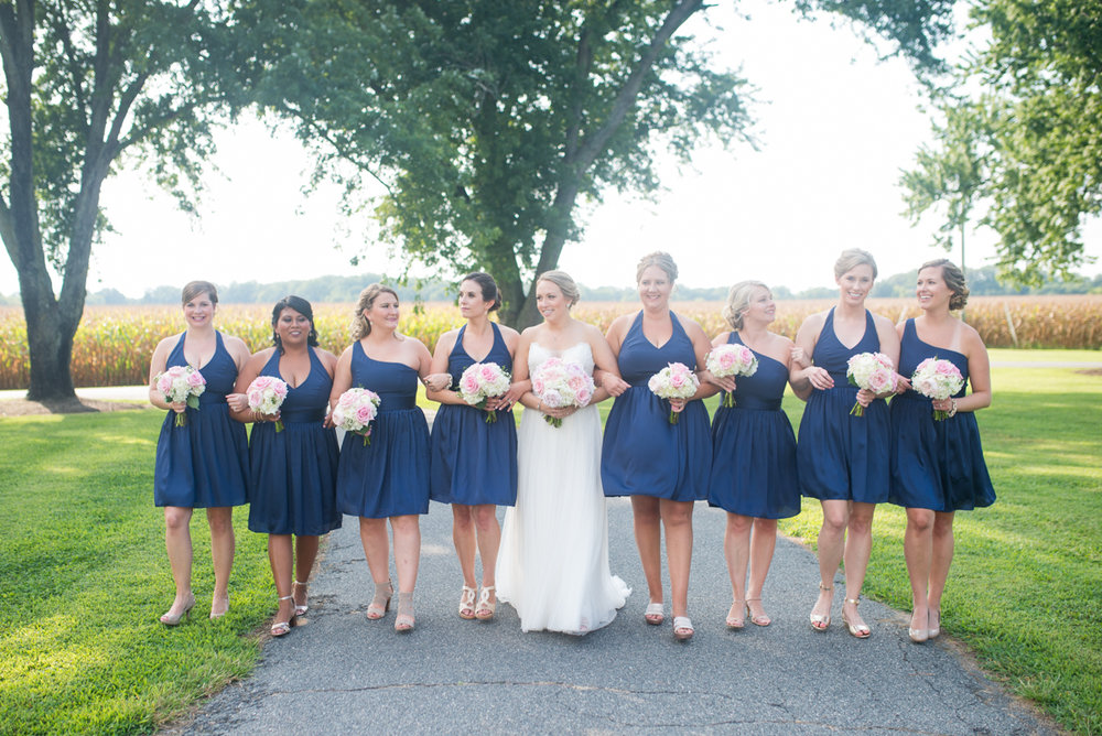 Elegant Navy and Blush Estate Wedding | Navy Bridal Party