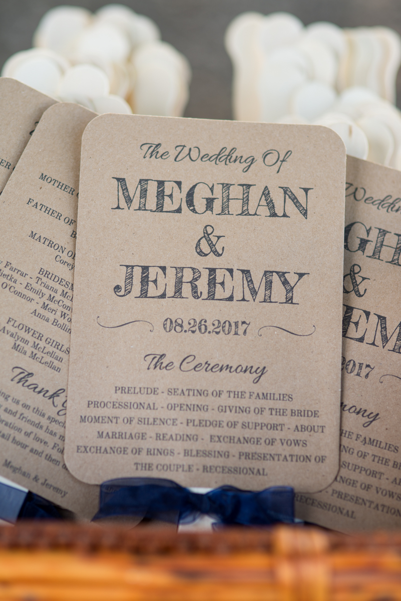 Elegant Navy and Blush Estate Wedding | Wedding Ceremony Fan Programs
