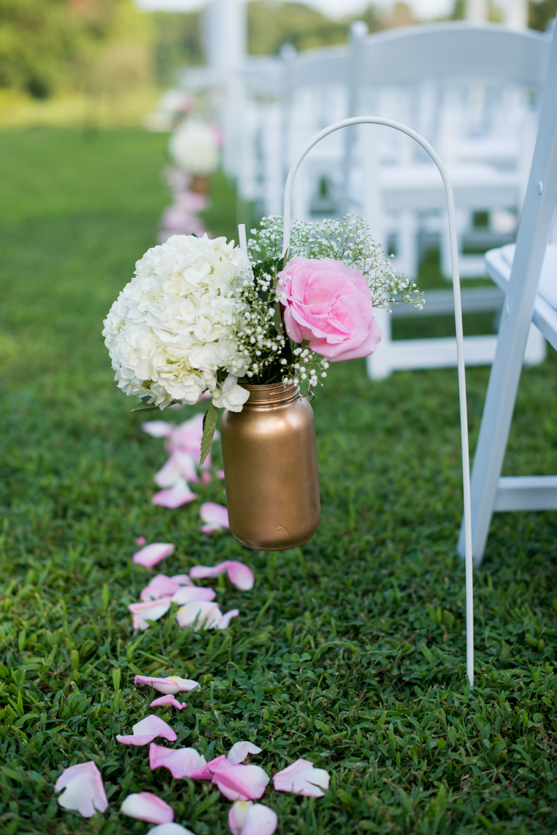 Elegant Navy and Blush Estate Wedding | Gold Jar Ceremony Decorations