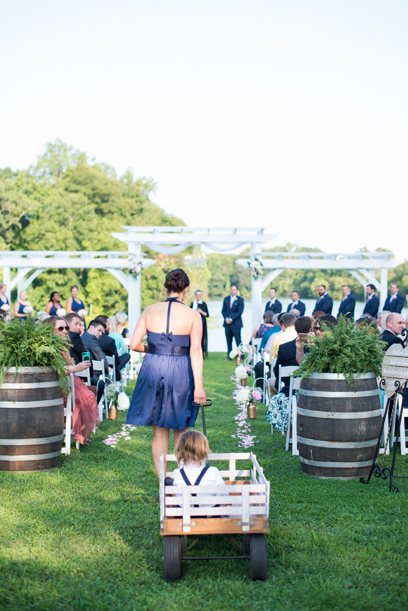 Elegant Navy and Blush Estate Wedding | Ring Bearer in Wagon
