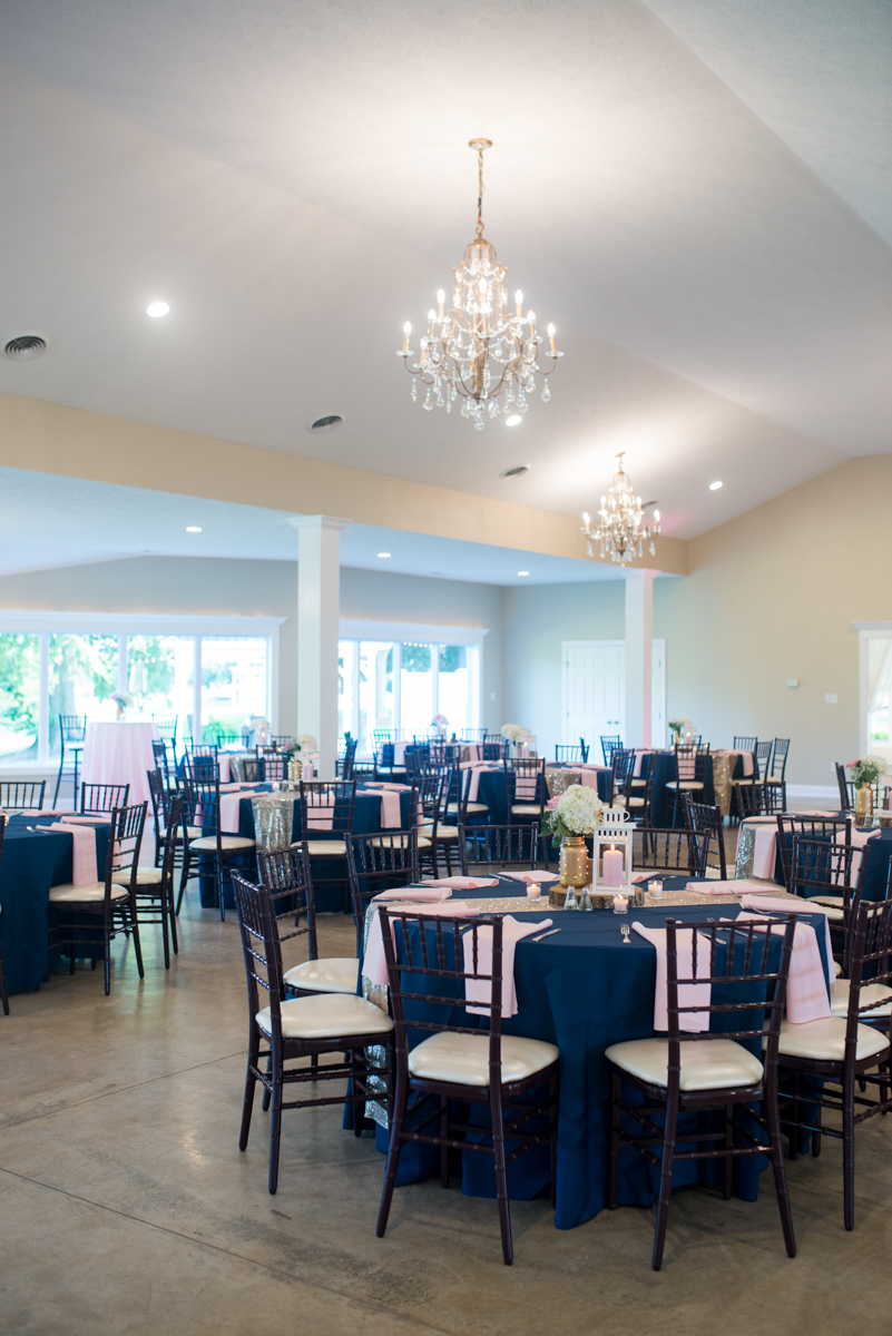 Elegant Navy and Blush Estate Wedding | Navy, Blush, and Gold Wedding Reception