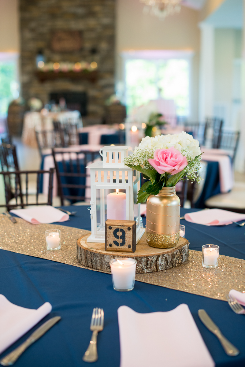 Elegant Navy and Blush Estate Wedding | Navy, Blush, and Gold Wedding Reception Centerpiece