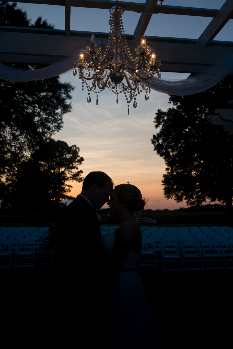 Elegant Navy and Blush Estate Wedding | Bride and Groom Sunset Silhouette