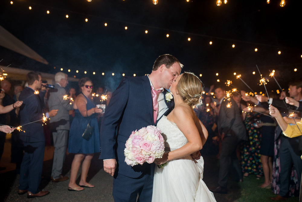 Elegant Navy and Blush Estate Wedding | Bride and Groom Sparkler Exit