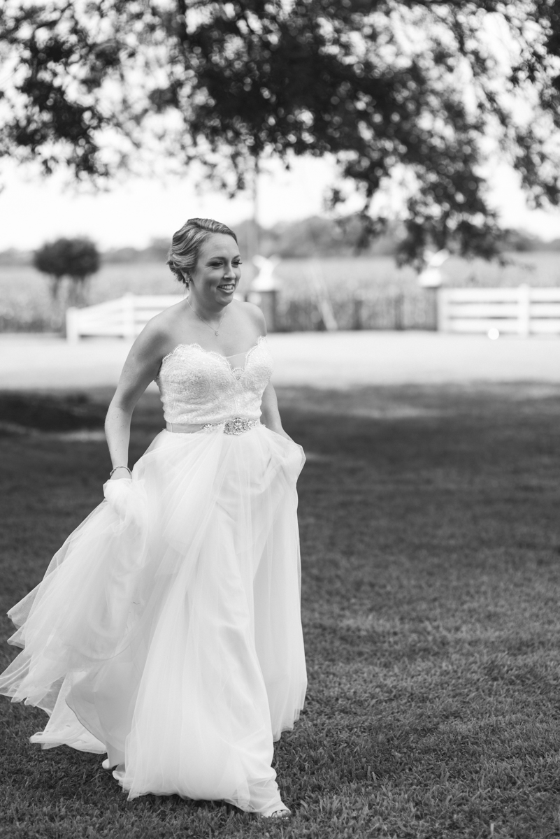 Elegant Navy and Blush Estate Wedding | Bride walking to first look