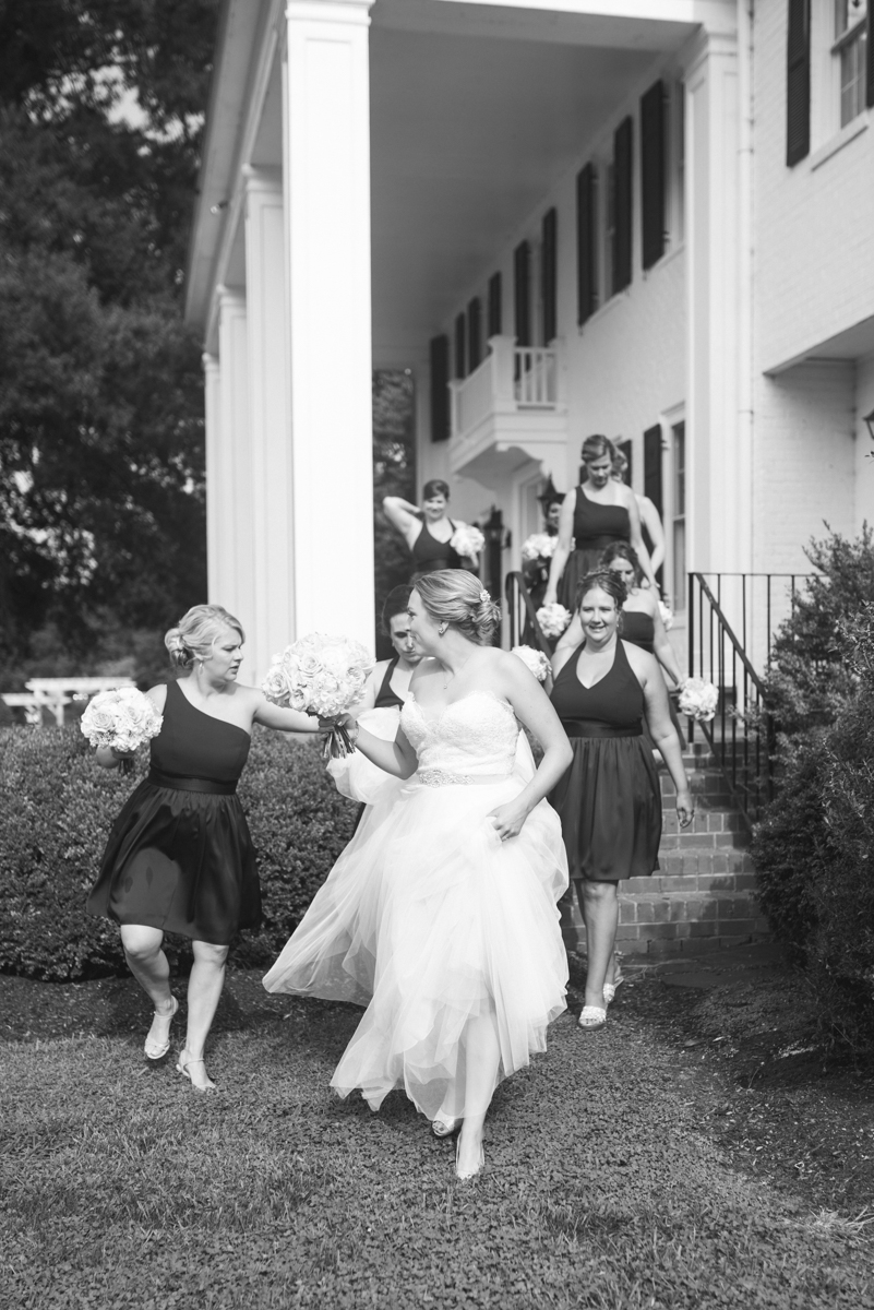 Elegant Navy and Blush Estate Wedding | Bridal Party with Bride