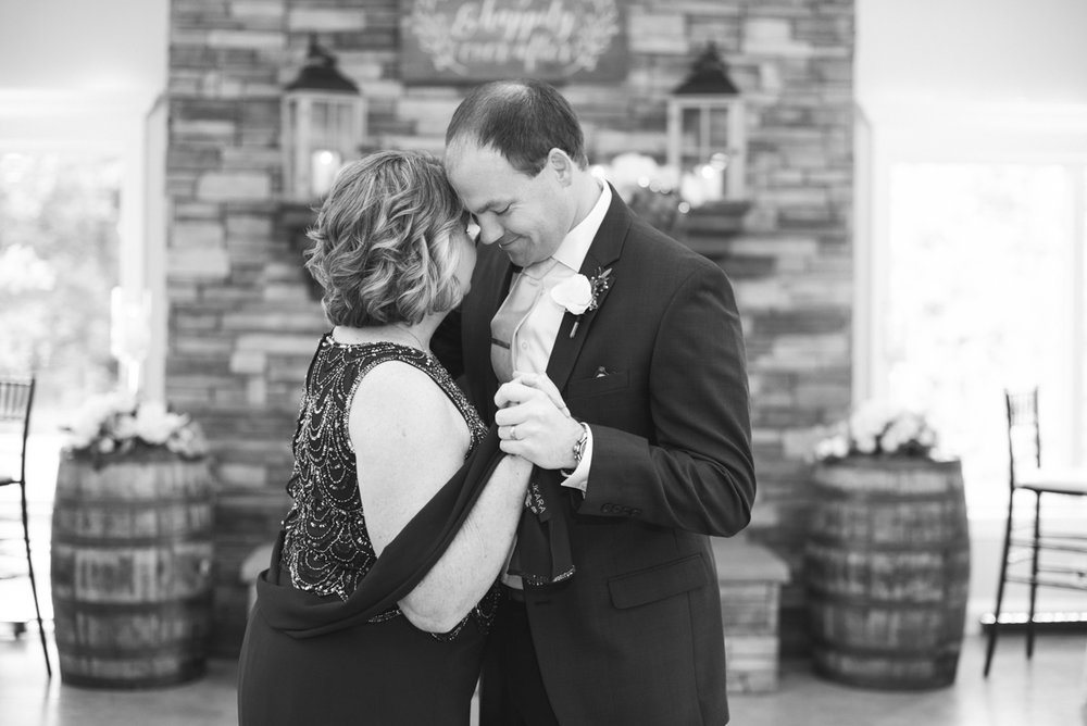Elegant Navy and Blush Estate Wedding | Mother Son Dance