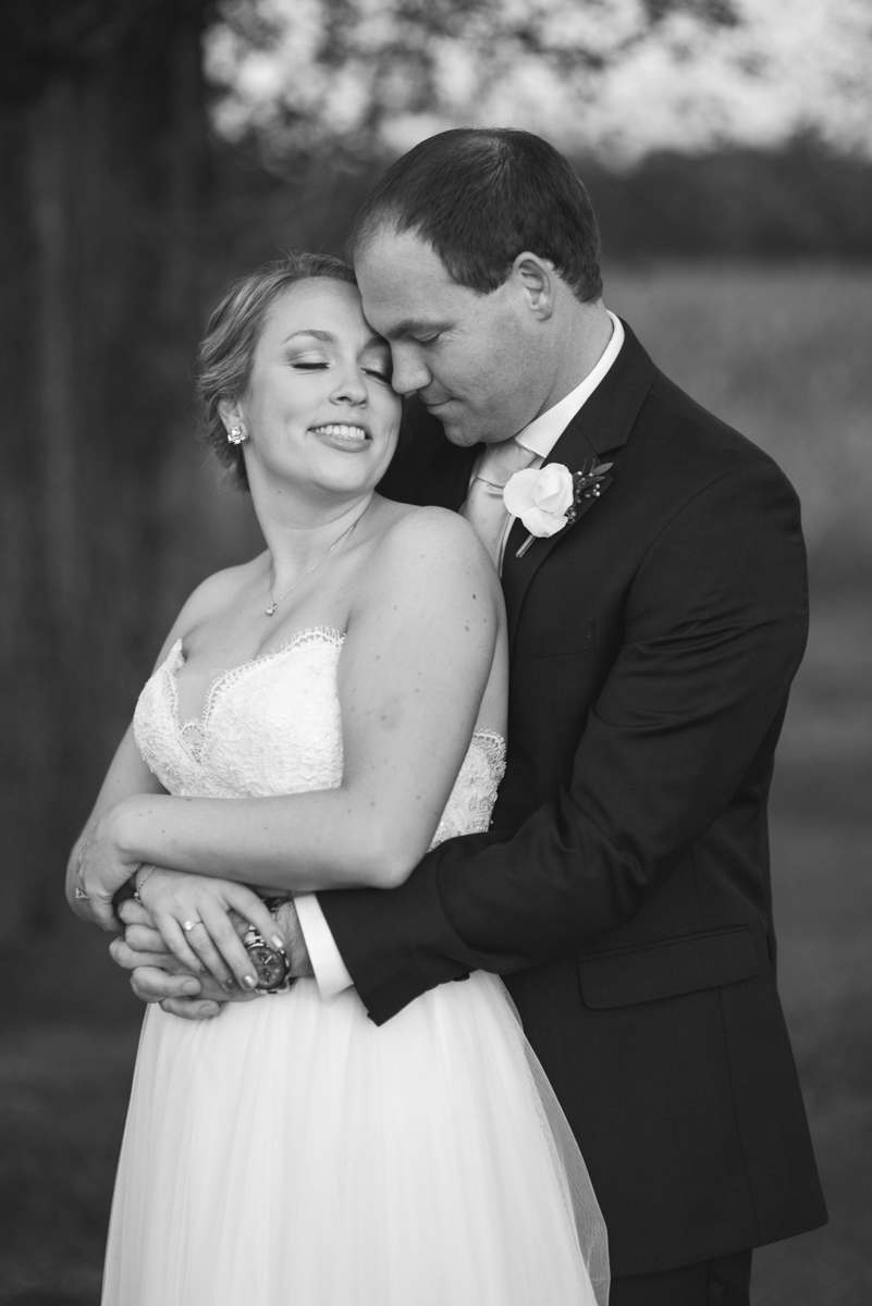 Elegant Navy and Blush Estate Wedding | Black and White Bride and Groom Portrait