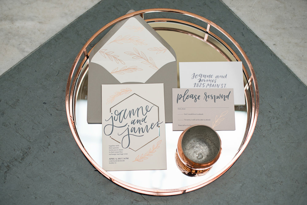 Elegant Museum Wedding Inspiration | Gray, White, and Copper Wedding Invitations