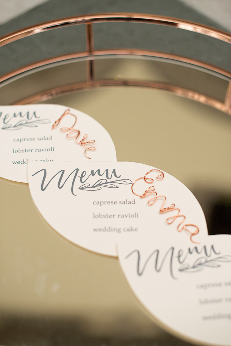 Elegant Museum Wedding Inspiration | Copper Wedding Name Cards