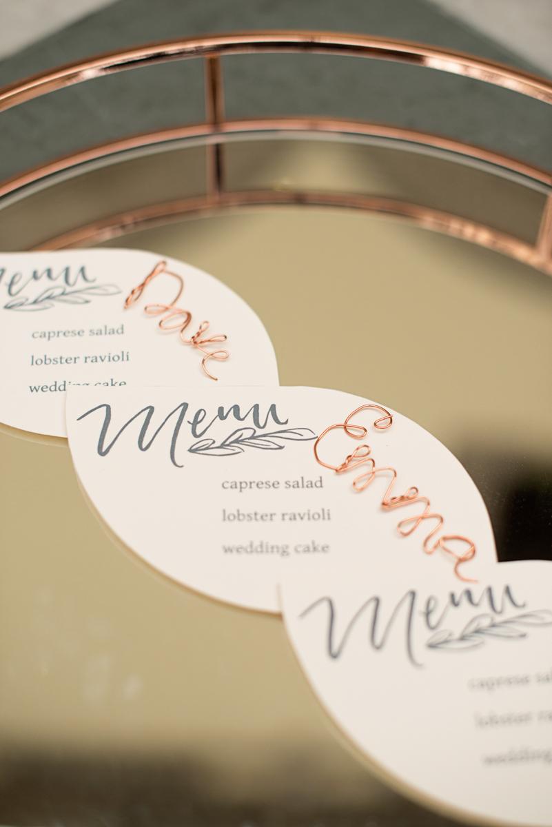 Elegant Museum Wedding Inspiration | Copper Wedding Name Cards