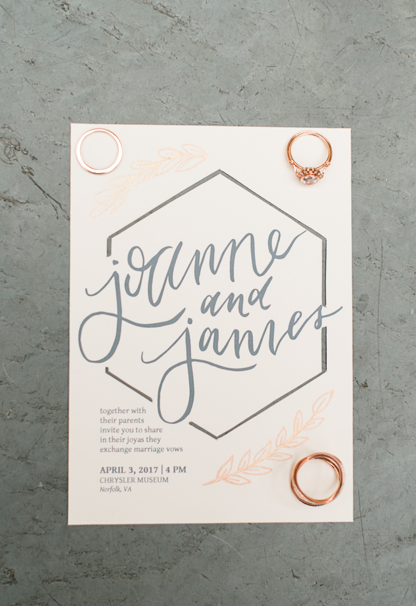 Elegant Museum Wedding Inspiration | Gray, White, and Copper Wedding Invitation