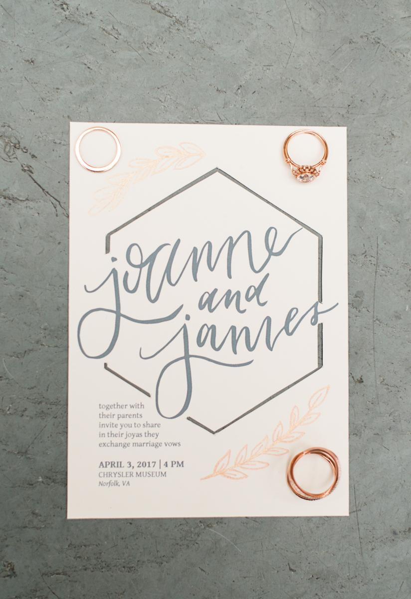 Elegant Museum Wedding Inspiration | Gray, White, and Copper Wedding Invitation