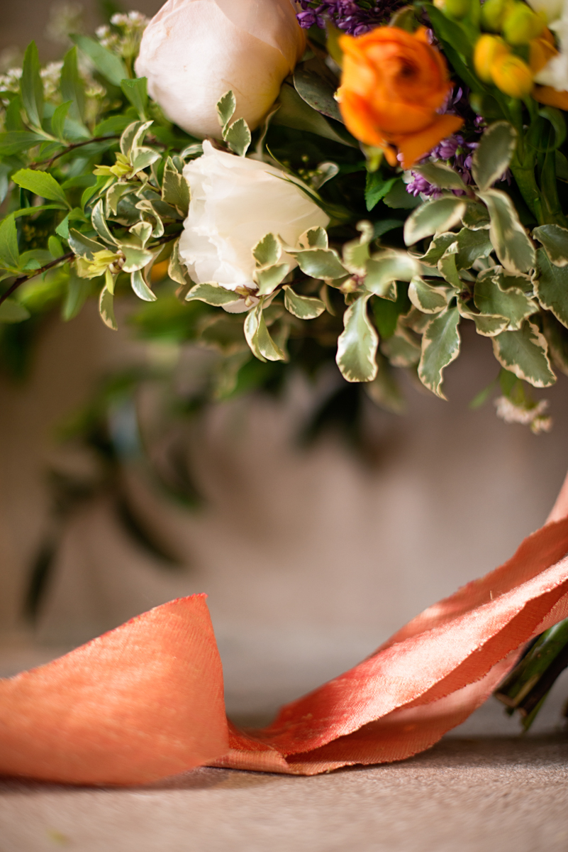 Elegant Museum Wedding Inspiration | Tangerine, Purple, Blush, and Green Bridal Bouquet