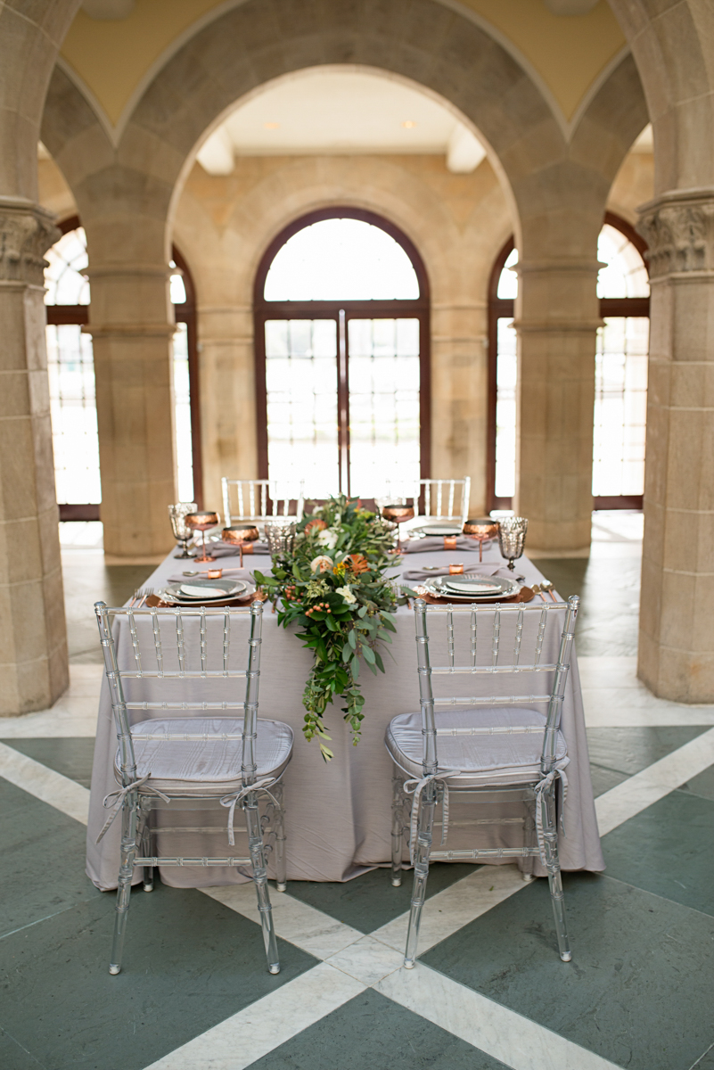 Elegant Museum Wedding Inspiration | Gray and Copper Wedding Sweetheart Table