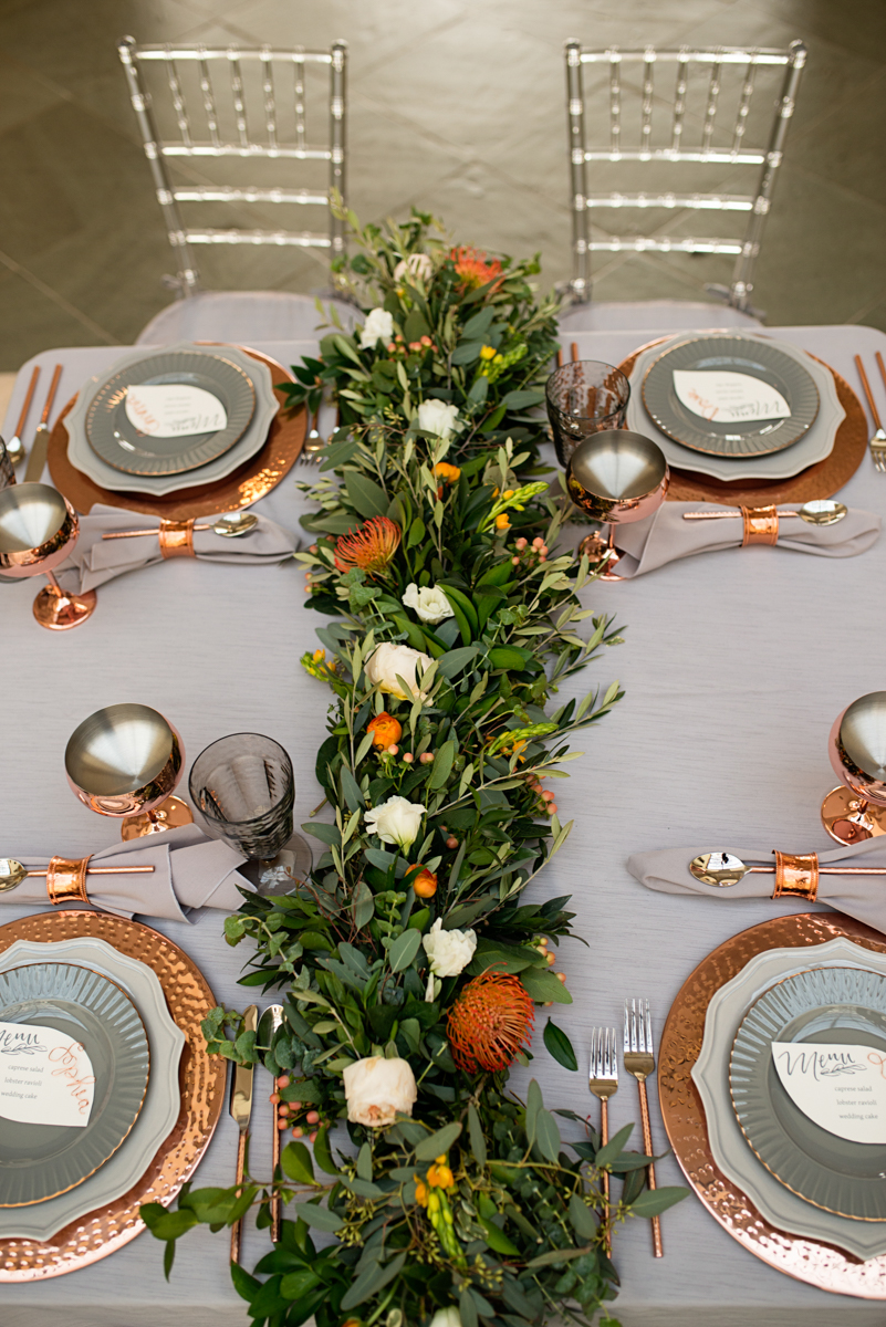 Elegant Museum Wedding Inspiration | Gray and Copper Wedding Place Settings