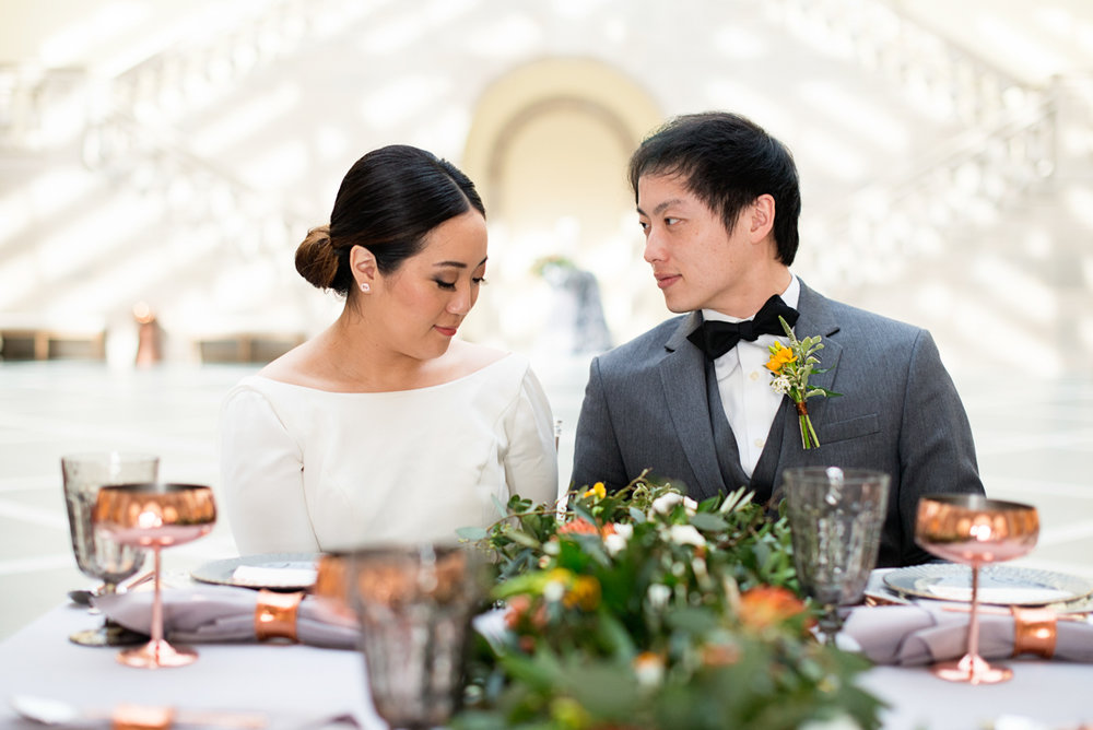 Elegant Museum Wedding Inspiration | Bride and Groom Portraits
