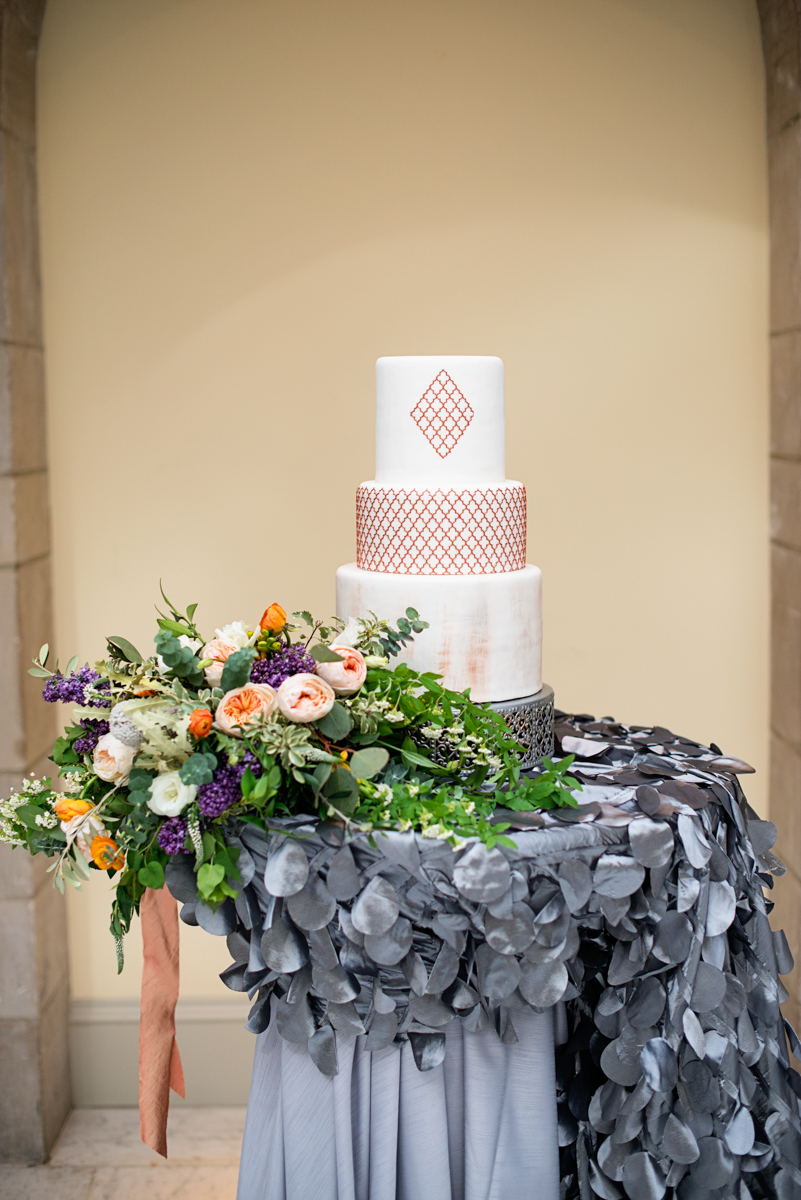 Elegant Museum Wedding Inspiration | Copper, White, and Gray Wedding Cake