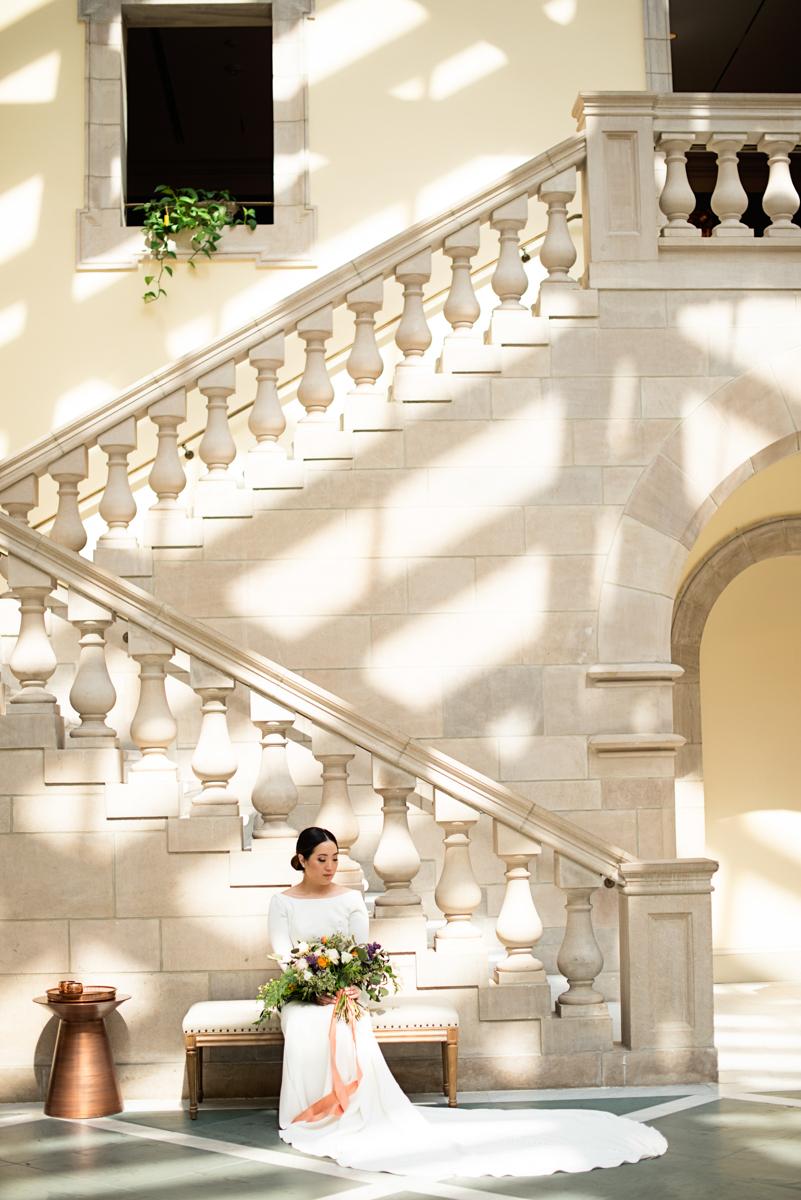 Elegant Museum Wedding Inspiration | Bridal Portrait