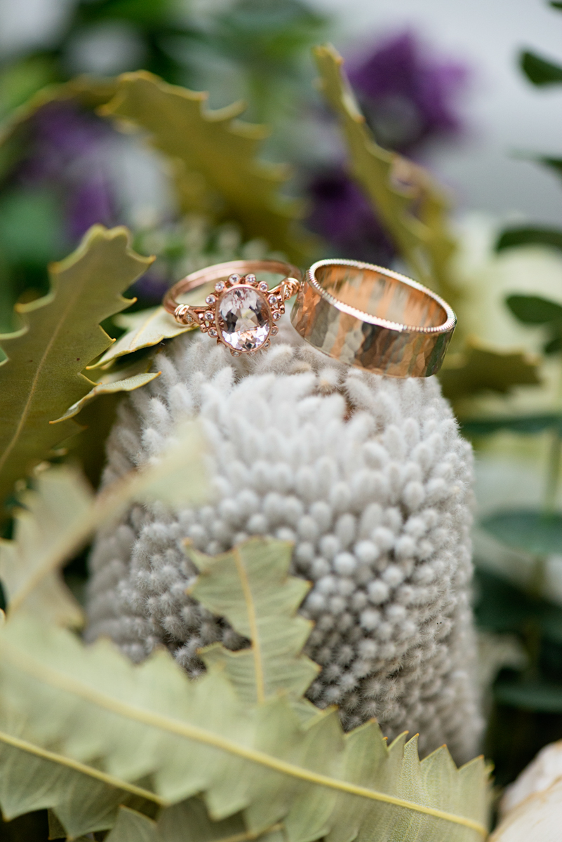 Elegant Museum Wedding Inspiration | Gray Bouquet Ring Shot