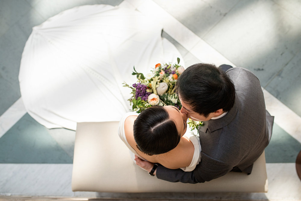 Elegant Museum Wedding Inspiration | Bride and Groom Portrait